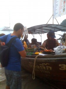 Boats selling food and drink on Pranang Cave Beach