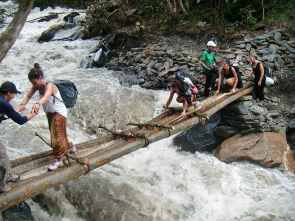 Crossing Rapids on The Inca Trail