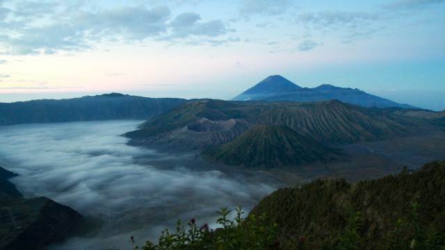 Sunrise at Mount Batok and Mount Bromo