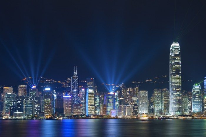 Laser show in Victoria Harbor of Hong Kong. Hong Kong Top Experiences