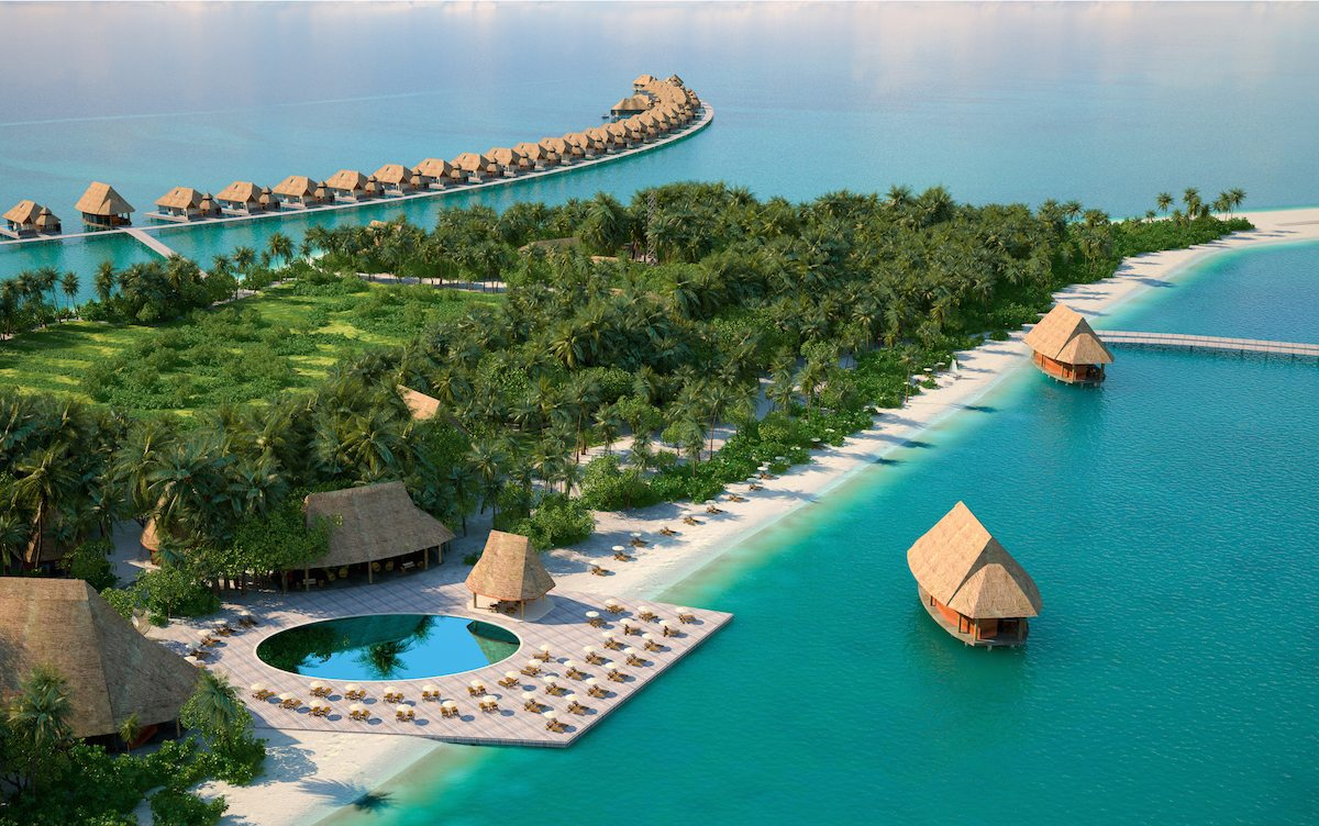 Pullman Maldives Maamutaa  Resort - aerial with pool