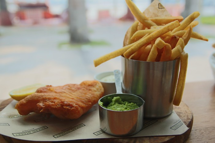 Bread Street Kitchen Celebrity Restaurant Singapore by Gordon Ramsay Fish and Chips