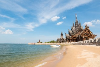 the sanctuary of truth on the seashore in pattaya,  thailand.