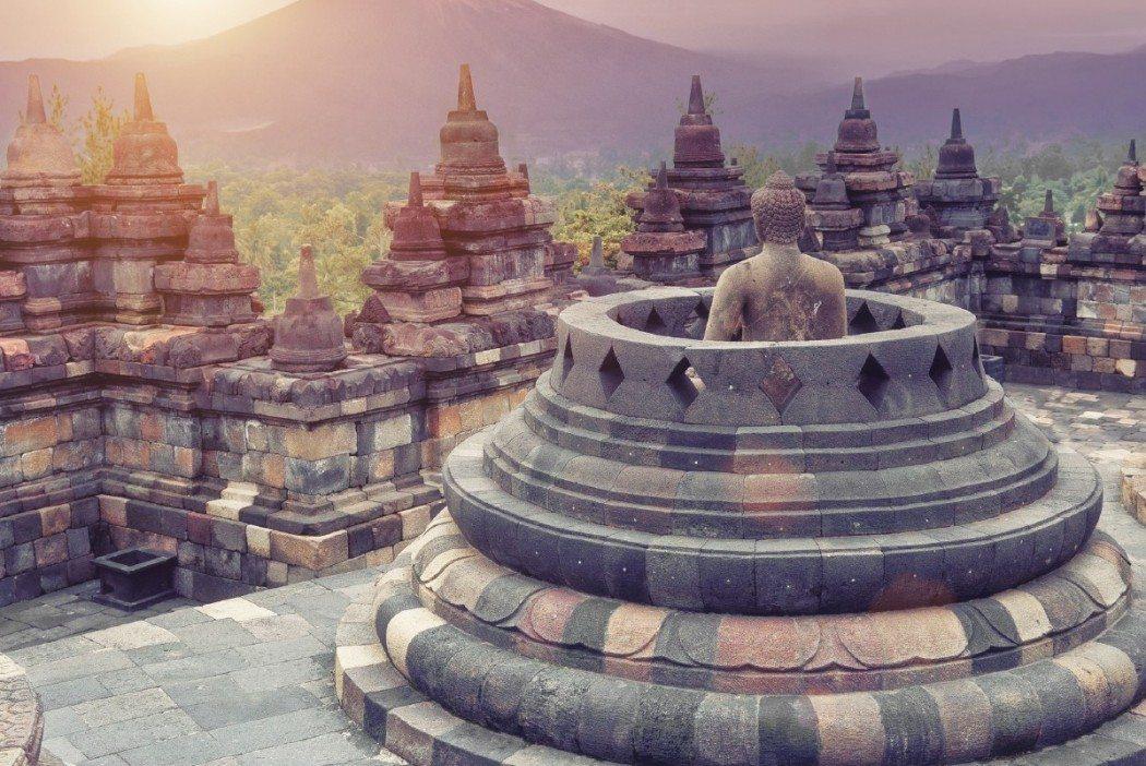 Borobudur Temple at sunrise.Java.Indonesia.