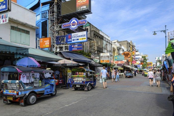 Bangkok, Thailand - July 25, 2015: tourists walk along backpacker haven Khao San Road and tuktuk around in Bangkok, Thailand