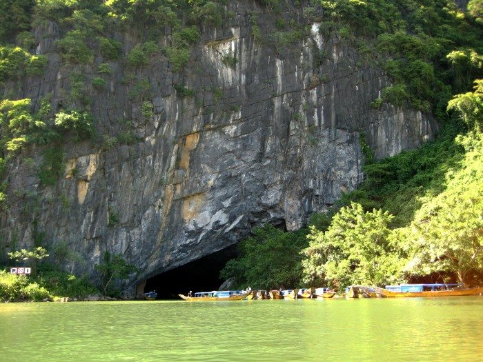 The mouth of Phong Nha cave with underground river in Vietnam