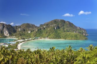 Panoramic view from viewpoint at Phi Phi Island Thailand