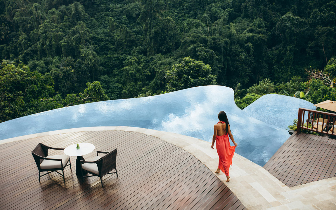 hanging gardens one of ubud s best infinity pools overlooking