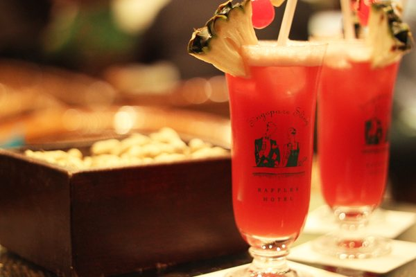 Singapore Sling at Raffles Hotel Long Bar