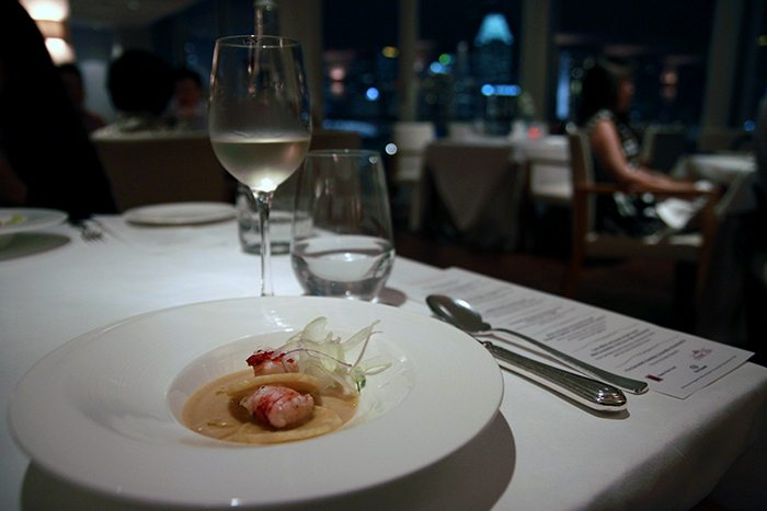 Chef Giacomo Gallina table at the Lighthouse restaurant at The Fullerton Hotel