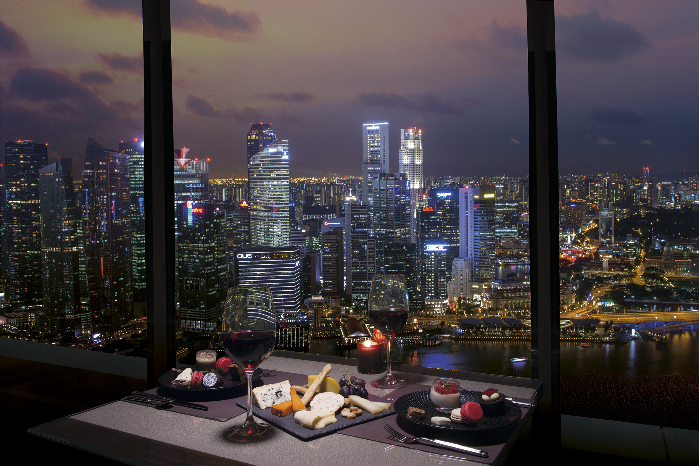 The Club at Marina Bay Sands Cheese and Chocolate Bar with night view