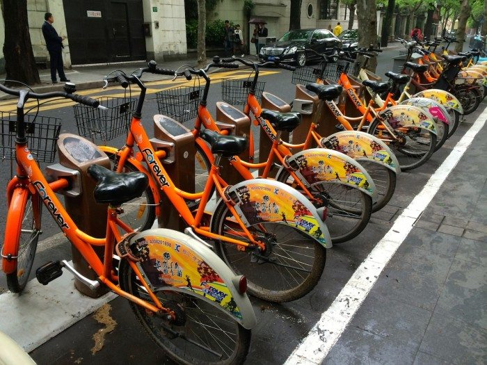 Bike rental in French Concession District of Shanghai