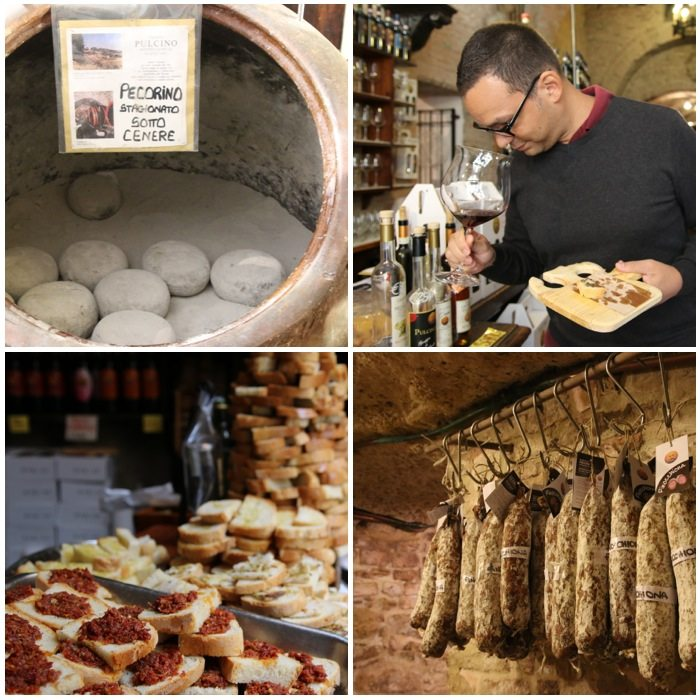 Wine and food tasting in Montepulciano Tuscany Italy