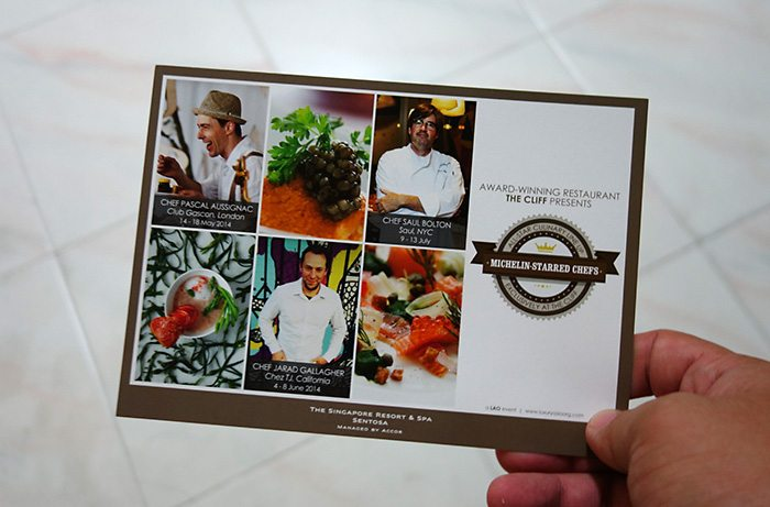 The Cliff Restaurant Singapore Guest Michelin-starred chefs