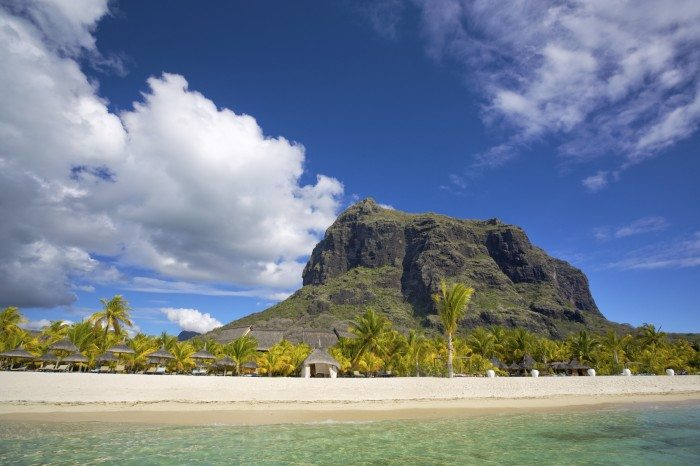 White sand beach near Le Morne Brabant mountain, Mauritius