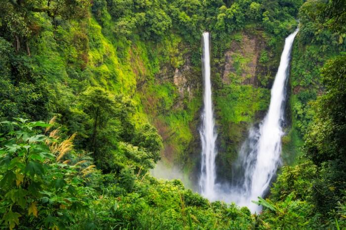 Landscape of Tad Fan waterfall in Champasak, Pakse, Laos