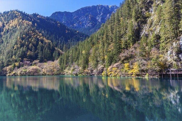 Beautiful pond in Jiuzhaigou national park, Sichuan Province, China