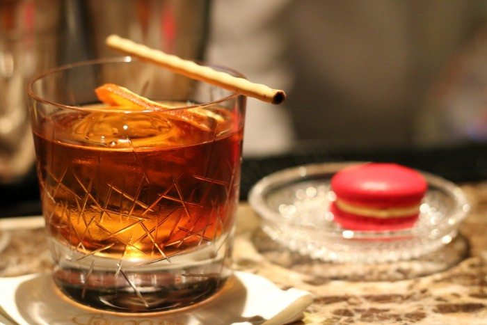 Bangkok's Best Cocktail Bars- Bamboo Bar at Mandarin Oriental- Grande Finale with Campari Macaroon